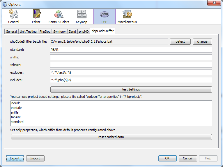 PHP CodeSniffer and Mess Detecter in Netbeans
