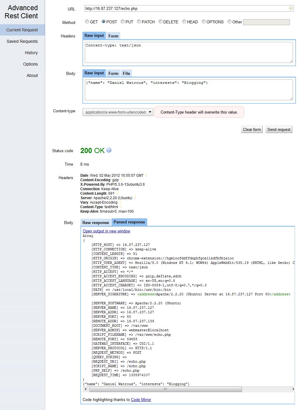 Echo for REST client debugging